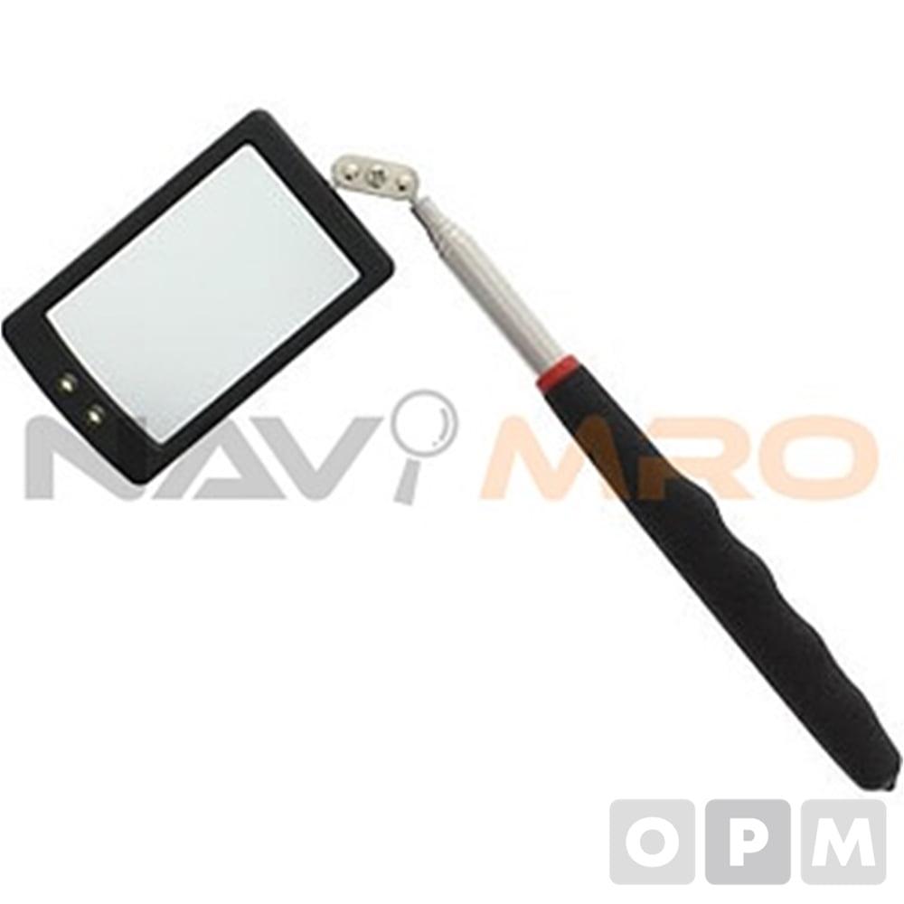 LED 안테나 거울 /1EA 타입:사각/용도:기계내부, 엔진룸의 점검/재질:스템레스(안테나부분), 유리(거울)/무게(g):85/ 전원:코인전지CR2032×2/사이즈:52×84